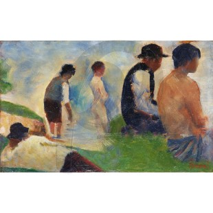 Georges Seurat - Study for Bathers at Asnières (Hand-Painted)
