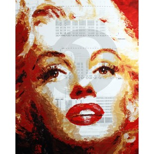 Havi Schanz - Marilyn on Blueprint (Hand-Painted Reproduction)