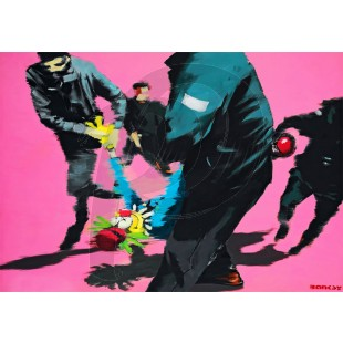 Banksy - Clown and Riot Police (Hand-Painted Reproduction)