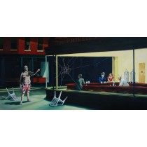 Banksy - Nighthawks with Angry Man (Hand-Painted Reproduction)