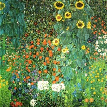 Gustav Klimt - Farm Garden With Sunflowers (Hand-Painted)