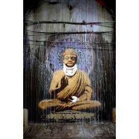 Banksy - Injured Budha (Hand-Painted Reproduction)