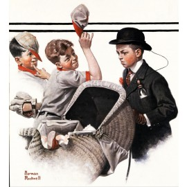 Norman Rockwell - Boy with Baby Carriage (Hand-Painted)