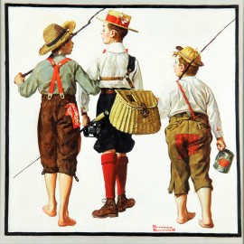 Norman Rockwell - Fishing Trip (Hand-Painted)