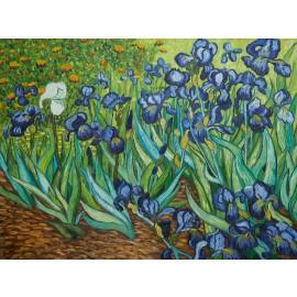 Vincent Van Gogh - Irises 1889  (Hand-Painted)