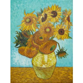 Vincent Van Gogh - Vase with 12 Sunflowers (Hand-Painted)