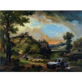 Banksy - Abandon Car (Hand-Painted Reproduction)
