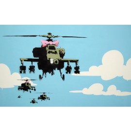 Banksy- Helicopters (Hand-Painted Reproduction)