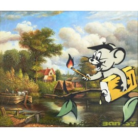 Banksy - Mouse with Match (Hand-Painted Reproduction)