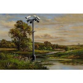 Banksy - Surveillance Camera Near River (Hand-Painted Reproduction)