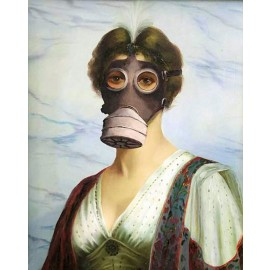 Banksy - Woman Wearing Gas Mask (Hand-Painted Reproduction)