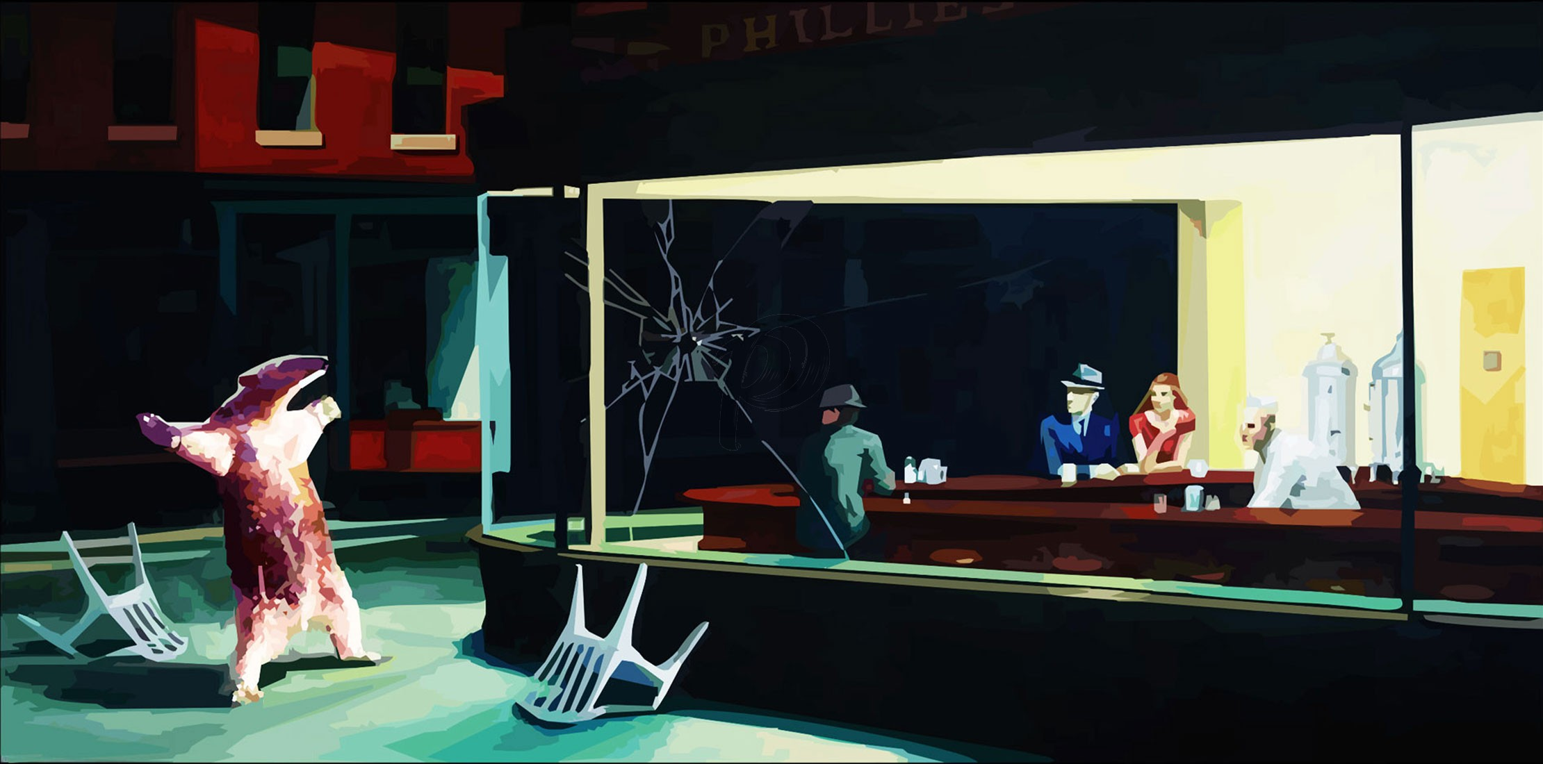 Banksy - Nighthawks (Hand-Painted Reproduction)