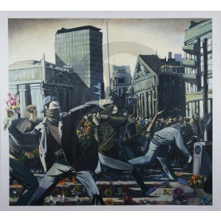 Banksy - Riot (Hand-Painted Reproduction)