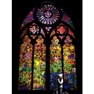 Banksy - Stained Glass Window Graffiti (Hand-Painted Reproduction)