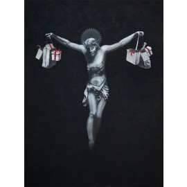 Banksy - Jesus Christ With Shopping Bags (Hand-Painted Reproduction)