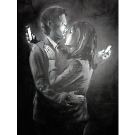 Banksy - Mobile Lovers (Hand-Painted Reproduction)