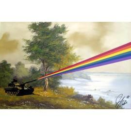 Banksy - Rainbow Tank (Hand-Painted Reproduction)