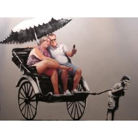 Banksy - Rickshaw Kid (Hand-Painted Reproduction)