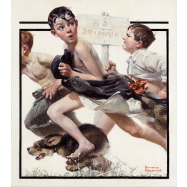 Norman Rockwell - No Swimming (Hand-Painted)